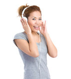 Woman listen to headphone Royalty Free Stock Photography