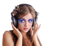Woman listen to music Royalty Free Stock Image