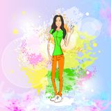 Woman listen to music dance hold player casual stock illustration