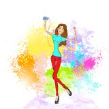 Woman listen to music dance hold player casual royalty free illustration