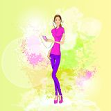 Woman listen to music hold player casual over royalty free illustration