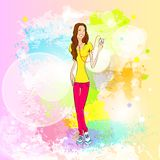 Woman listen to music hold player casual over stock illustration