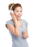 Woman listen to music Stock Photography