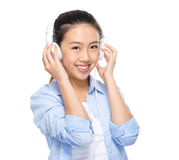Woman listen to song Royalty Free Stock Image