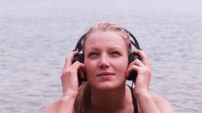 Woman Listenig to Music stock video
