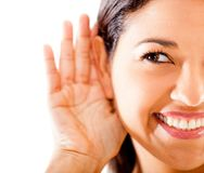 Woman listening Royalty Free Stock Images