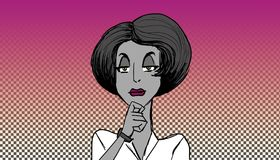 Woman listening. Elegant woman listening intently in gray on a warm tropical pop art background royalty free illustration