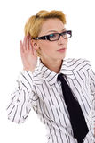 Woman listening gossip Stock Image