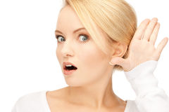 Woman listening gossip. Bright picture of young woman listening gossip stock photos