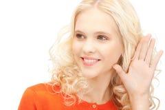 Woman listening gossip Stock Photos