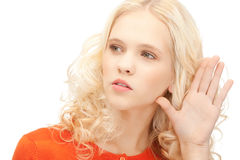 Woman listening gossip Royalty Free Stock Images