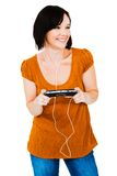 Woman listening media player Royalty Free Stock Photography