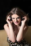 Woman listening music Royalty Free Stock Photography
