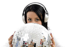 Woman Listening Music And Carrying Disco Ball Royalty Free Stock Images