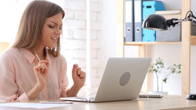 Woman Listening Music on Headphone at Work Stock Photos