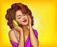Woman listening music in headphones pop art. Young pretty woman in vintage headphones listening music with closed eyes pop art illustration on dotted background stock illustration