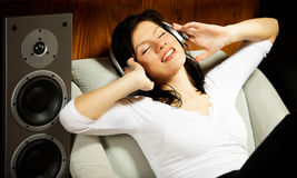 Woman Listening Music In Headphones Stock Photos