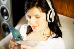 Woman Listening Music In Headphones Royalty Free Stock Photo