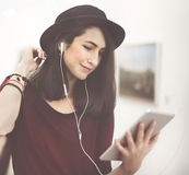 Woman Listening Music Media Entertainment Relaxation Concept Stock Photo