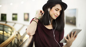 Woman Listening Music Media Entertainment Relaxation Concept Royalty Free Stock Photography