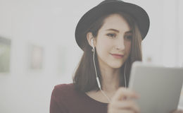 Woman Listening Music Media Entertainment Relaxation Concept Royalty Free Stock Photo