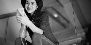 Woman Listening Music Media Entertainment Relaxation Concept Stock Image