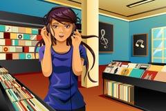 Woman Listening Music. A vector illustration of beautiful woman listening music in a music store stock illustration