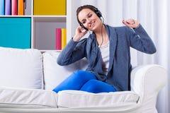 Woman listening pop music Stock Photography