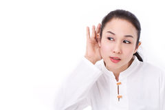 Woman listening to good news Stock Images