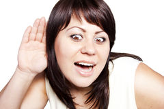 Woman listening to gossip Stock Images