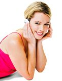 Woman listening to headphones Stock Photo