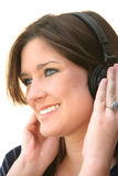 Woman Listening To Headphones Royalty Free Stock Photos