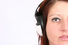 Woman listening to her favorite music Royalty Free Stock Photos