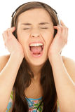 Woman listening to music Royalty Free Stock Images