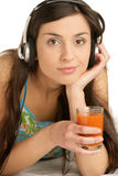 Woman listening to music Royalty Free Stock Photo