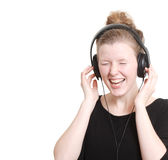Woman listening to music. Woman listening to some music Stock Photos