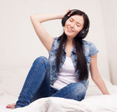 Woman listening to the music Royalty Free Stock Photo
