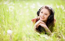 Woman listening to the music Stock Photography