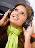 Woman listening To music Royalty Free Stock Photos