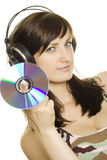 Woman Listening To Music And Singing Stock Image