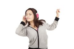 Woman listening to music and dancing Stock Photography