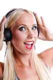 Woman listening to music on headphone Royalty Free Stock Image