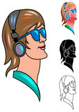 Woman listening to music. A woman listening to music on headphones Stock Images
