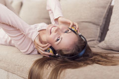 Woman listening to the music Stock Photo