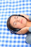 Woman listening to some music Royalty Free Stock Photos
