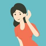 Woman listenning stock illustration