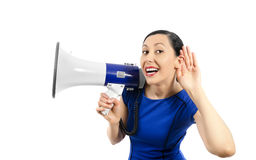 Woman listens Stock Images