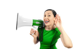 Woman listens Royalty Free Stock Photography
