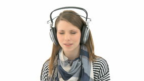 Woman listens to music stock video footage