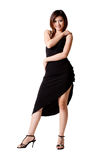Woman in little black dress. Beautiful asian girl in black cocktail dress Royalty Free Stock Photography
